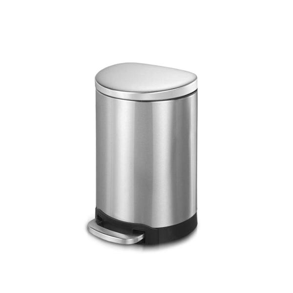 1.6 Gal./6-Liter Fingerprint Free Brushed Stainless Steel Semi-Round Step-On Trash Can
