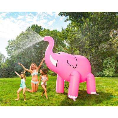 Over 6 ft. H Tall Ginormous Inflatable Pink Elephant Summer Yard Sprinkler, Perfect for Summer Fun