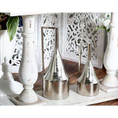 Silver Iron Decorative Vase with Cone-Shaped Body and Inverted L Handle (Set of 2)
