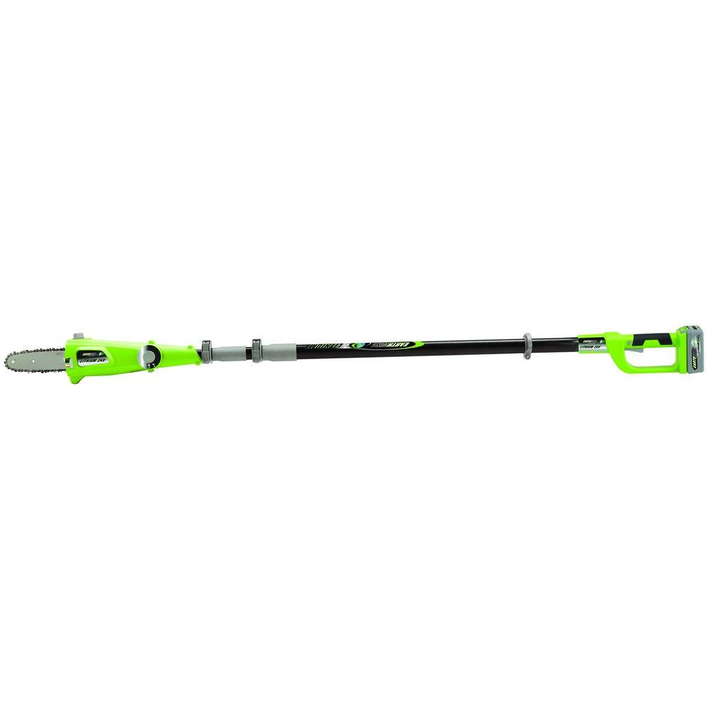 Earthwise 10 in 24 volt lithium ion cordless pole saw lps42410 earthwise 10 in 24 volt lithium ion cordless pole saw greentooth