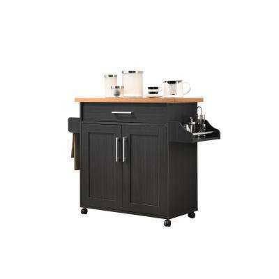 Black-Beech Kitchen Island with Spice Rack and Towel Holder