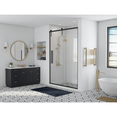 Eclipse 60 in. x 76 in. Frameless Sliding Shower Door in Matte Black and Clear Glass with Handle