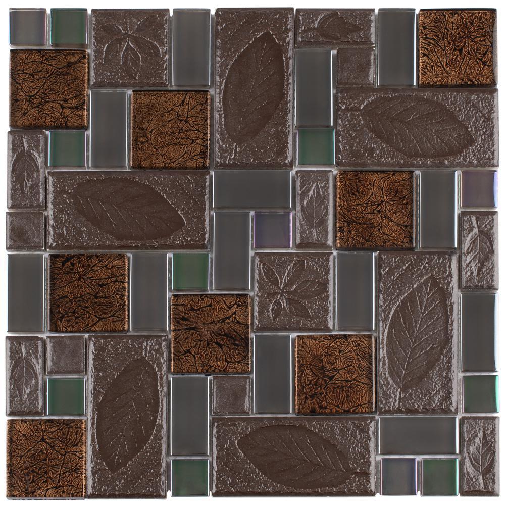 Garden Versailles Walnut 11-3/4 in. x 11-3/4 in. x 8 mm Ceramic and Glass Mosaic Tile