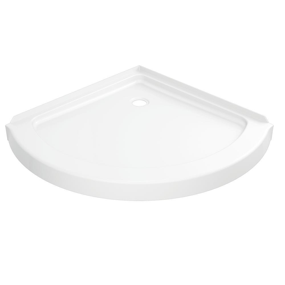 38 in. x 38 in. Single Threshold Corner Shower Base in White
