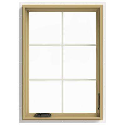 28 in. x 40 in. W-2500 Series White Painted Clad Wood Right-Handed Casement Window with Colonial Grids/Grilles