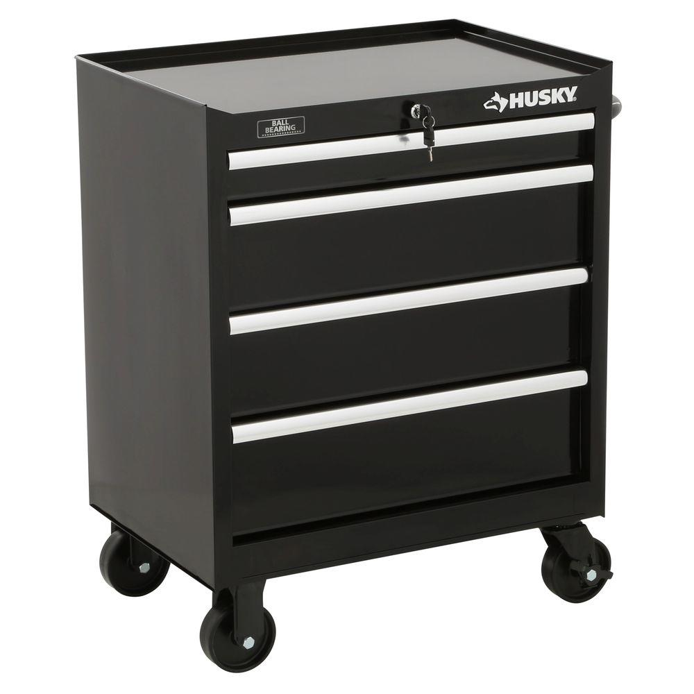 Husky 27 in. W 4-Drawer Tool Cabinet, Black-H4TR1R - The Home Depot