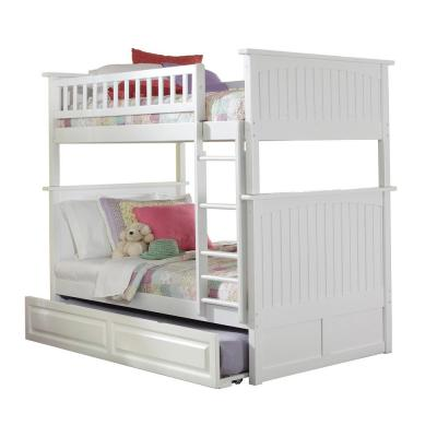 Nantucket Bunk Bed Twin over Twin with Twin Size Raised Panel Trundle Bed in White