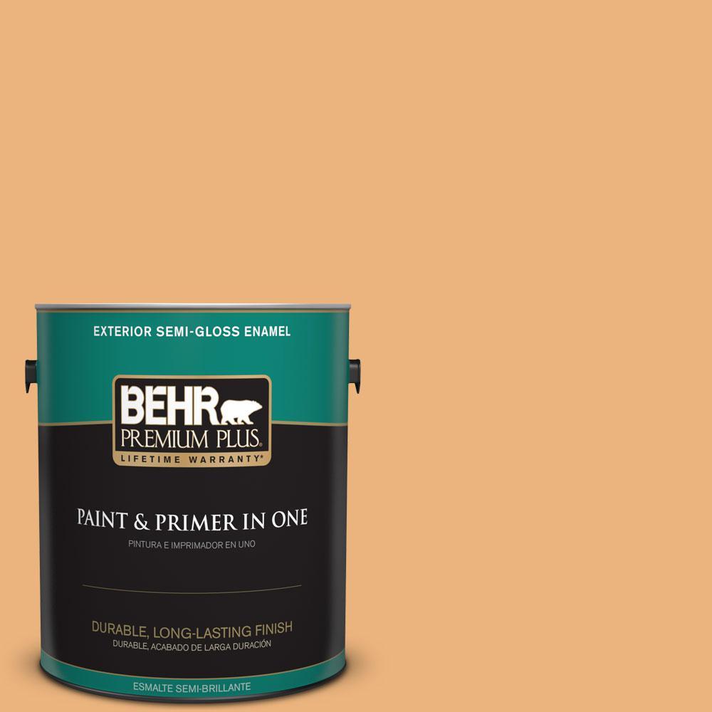 BEHR Premium Plus 1-gal. #ICC-100 Eastern Amber Semi-Gloss Enamel Exterior Paint