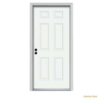 36 in. x 80 in. 6-Panel White Painted Steel Prehung Right-Hand Inswing Front Door w/Brickmould