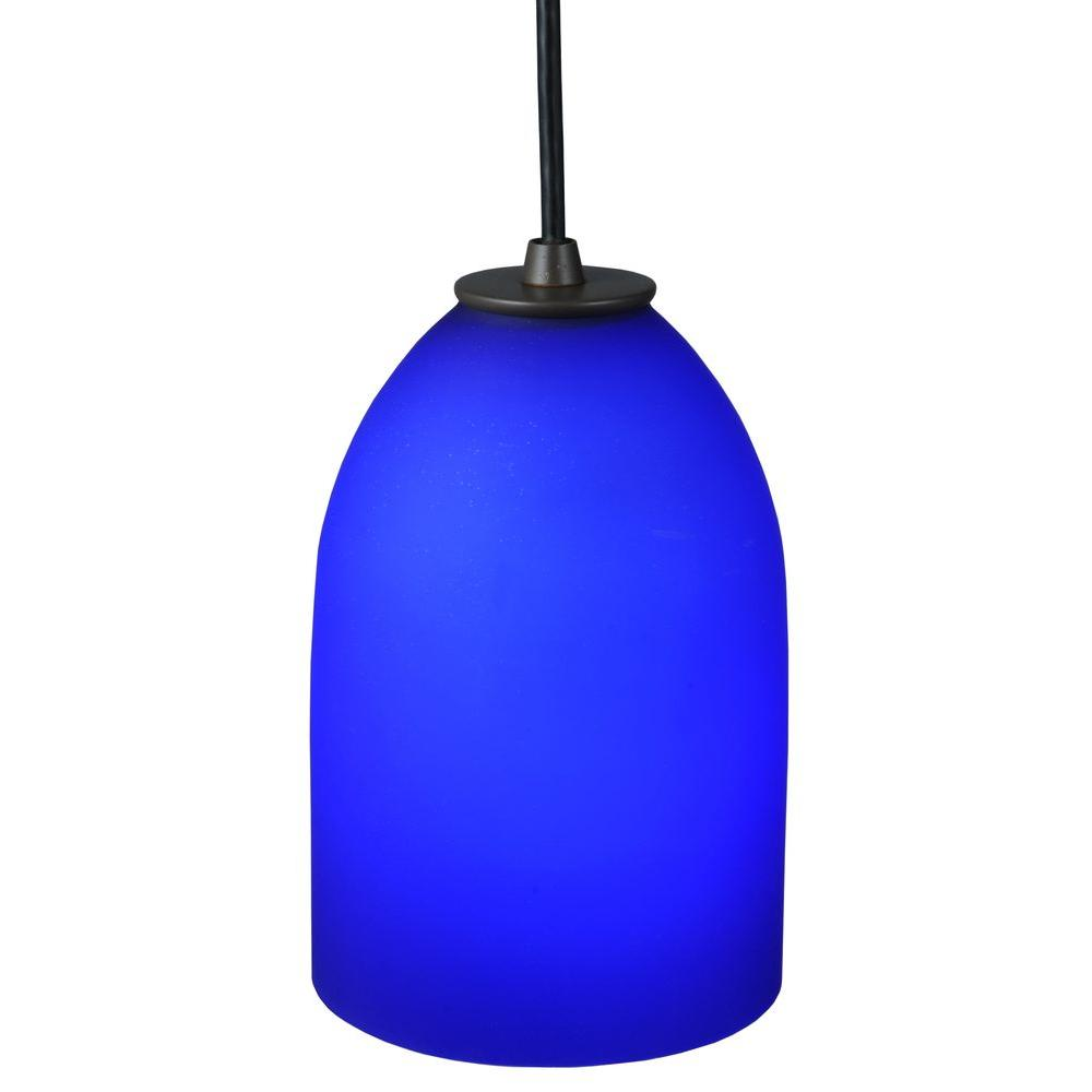 Illumine 1 Light Mini Pendant Blue Glass Timeless Bronze Finish