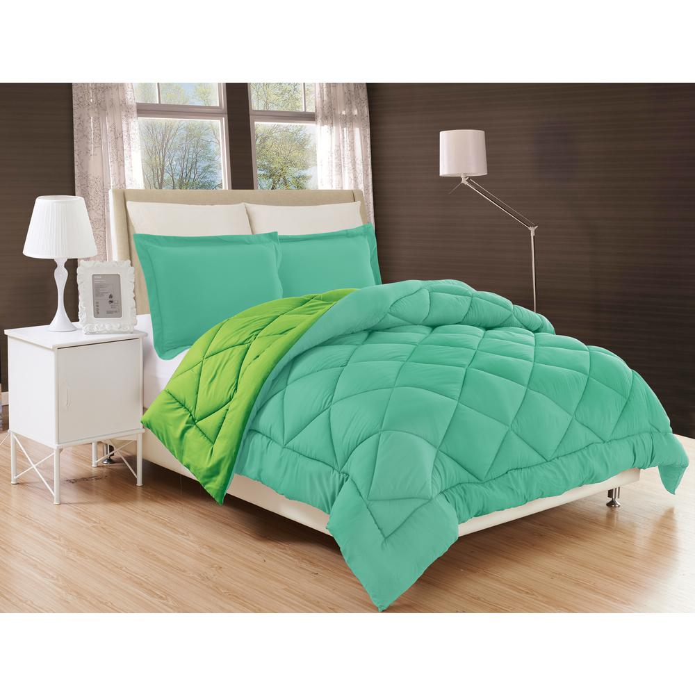 Down Alternative Aqua and Lime Reversible Twin/Twin XL Comforter Set