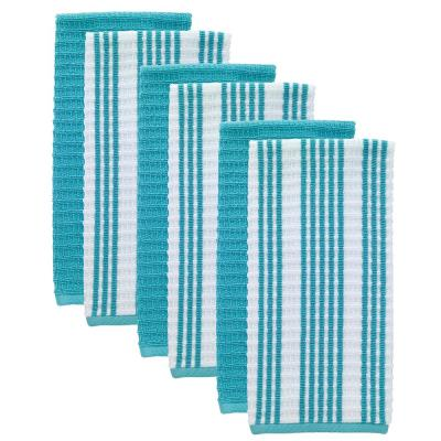 T-Fal Breeze Solid and Stripe Waffle Cotton Terry Kitchen Dish Towel (Set of 6)