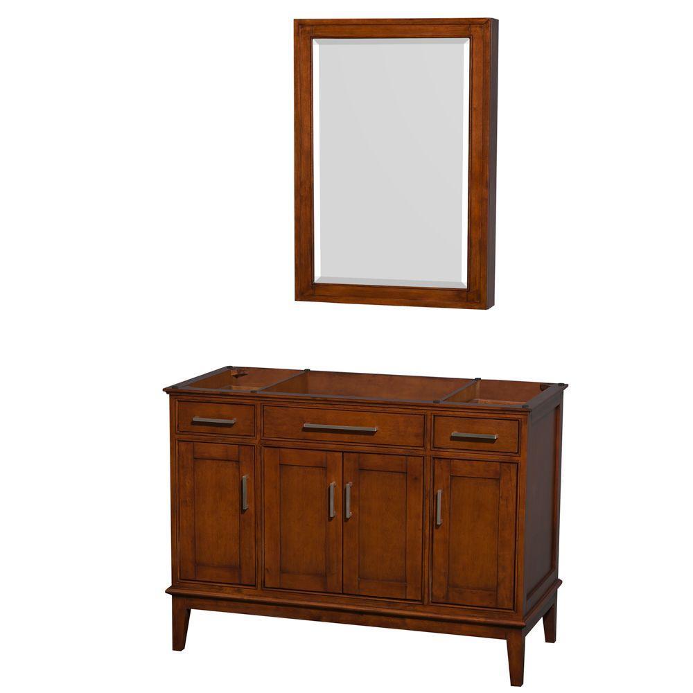Wyndham Collection Hatton 47 In Vanity Cabinet With Mirror Medicine Light Chestnut