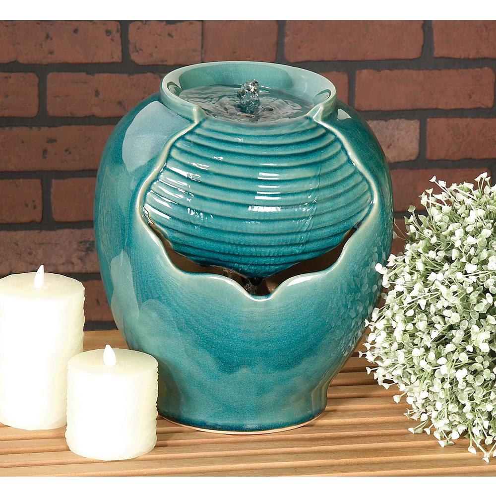 Ceramic Mini Fountain Drum In Glazed Teal 40812 The Home