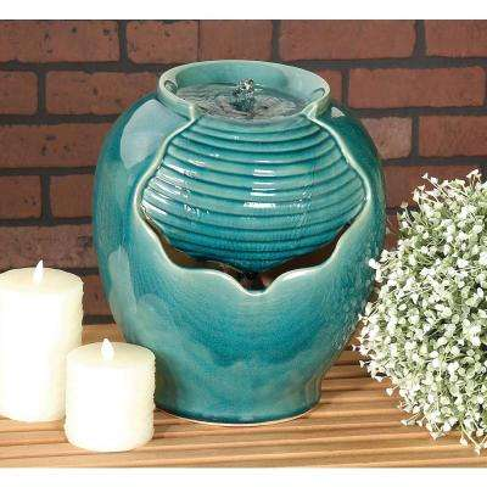 Ceramic Mini-Fountain Drum in Glazed Teal