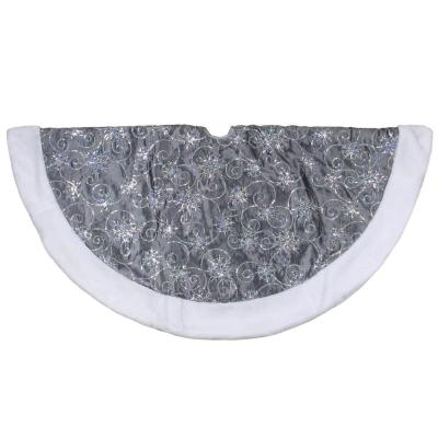 46 in. Gray and Silver Sequined Christmas Tree Skirt with Faux Fur Trim