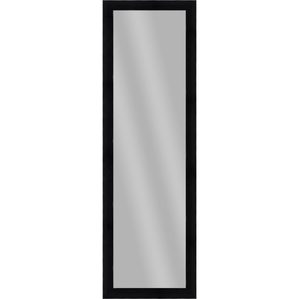 Large Rectangle Wood Grain Black Art Deco Mirror (51.875 in. H x 15.875 in. W)