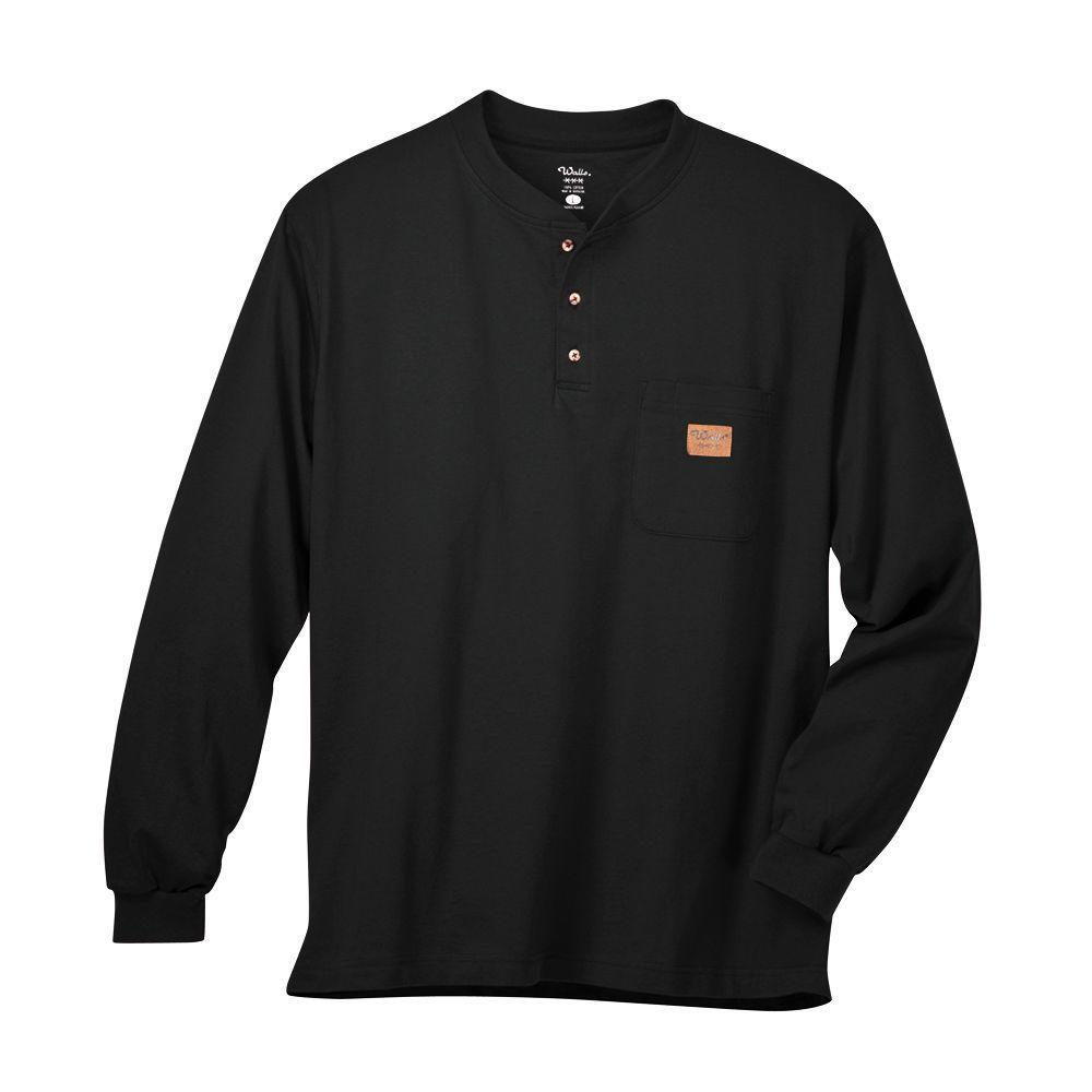 Walls Long Sleeve Heavyweight Henley 2X-Large Regular Tee in Black