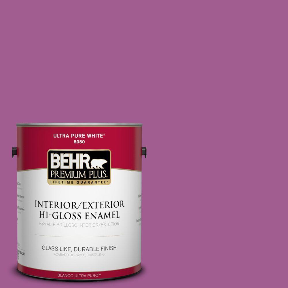 BEHR Premium Plus 1-gal. #P110-6 Wild Berry Hi-Gloss Enamel Interior/Exterior Paint