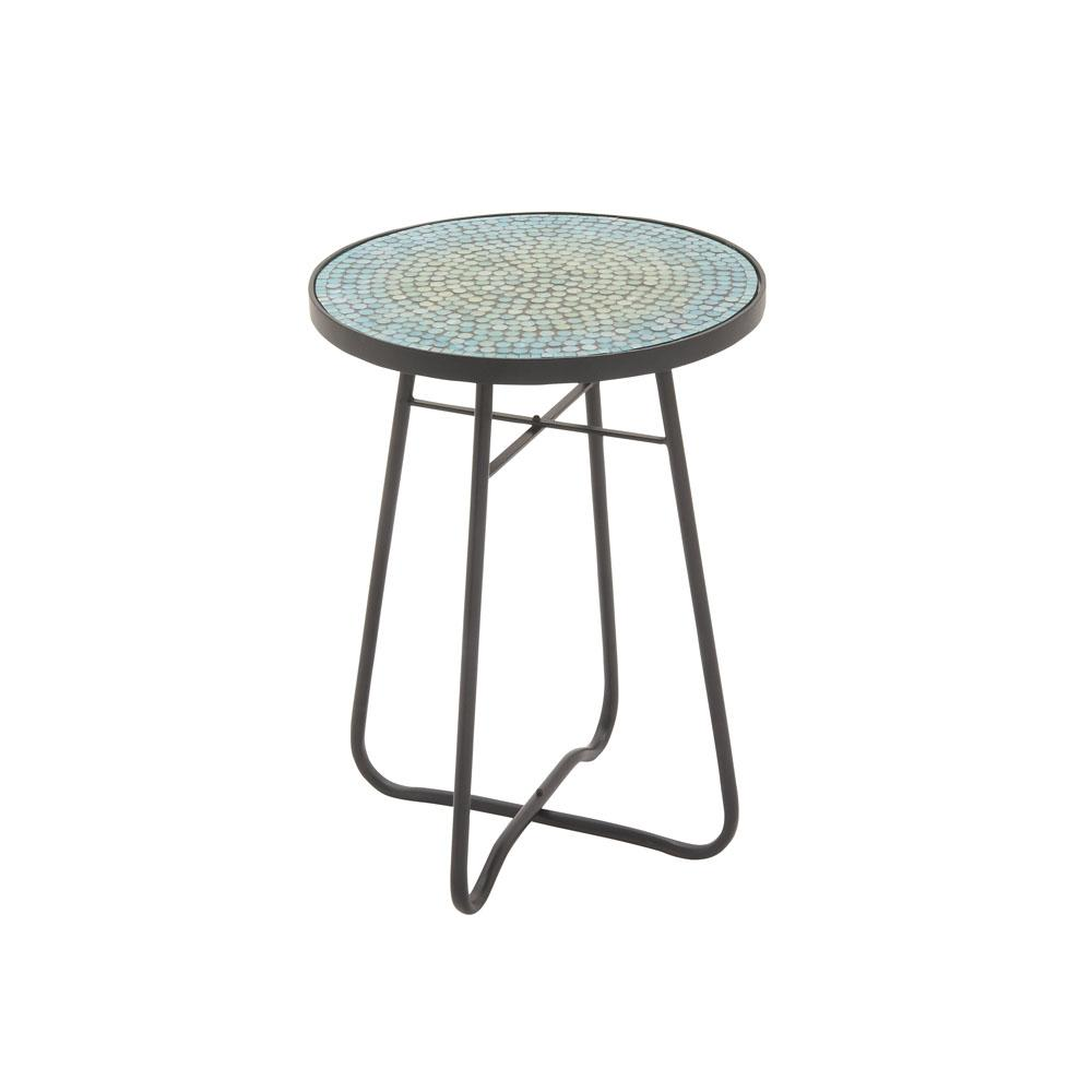 Litton Lane Turquoise Mosaic Round Accent Table