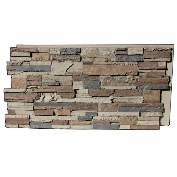 Earth Valley Faux Stone 48-3/4 in. x 21-3/4 in. NST Class A Fire Rated Urethane Interlocking Stack Stone Panel