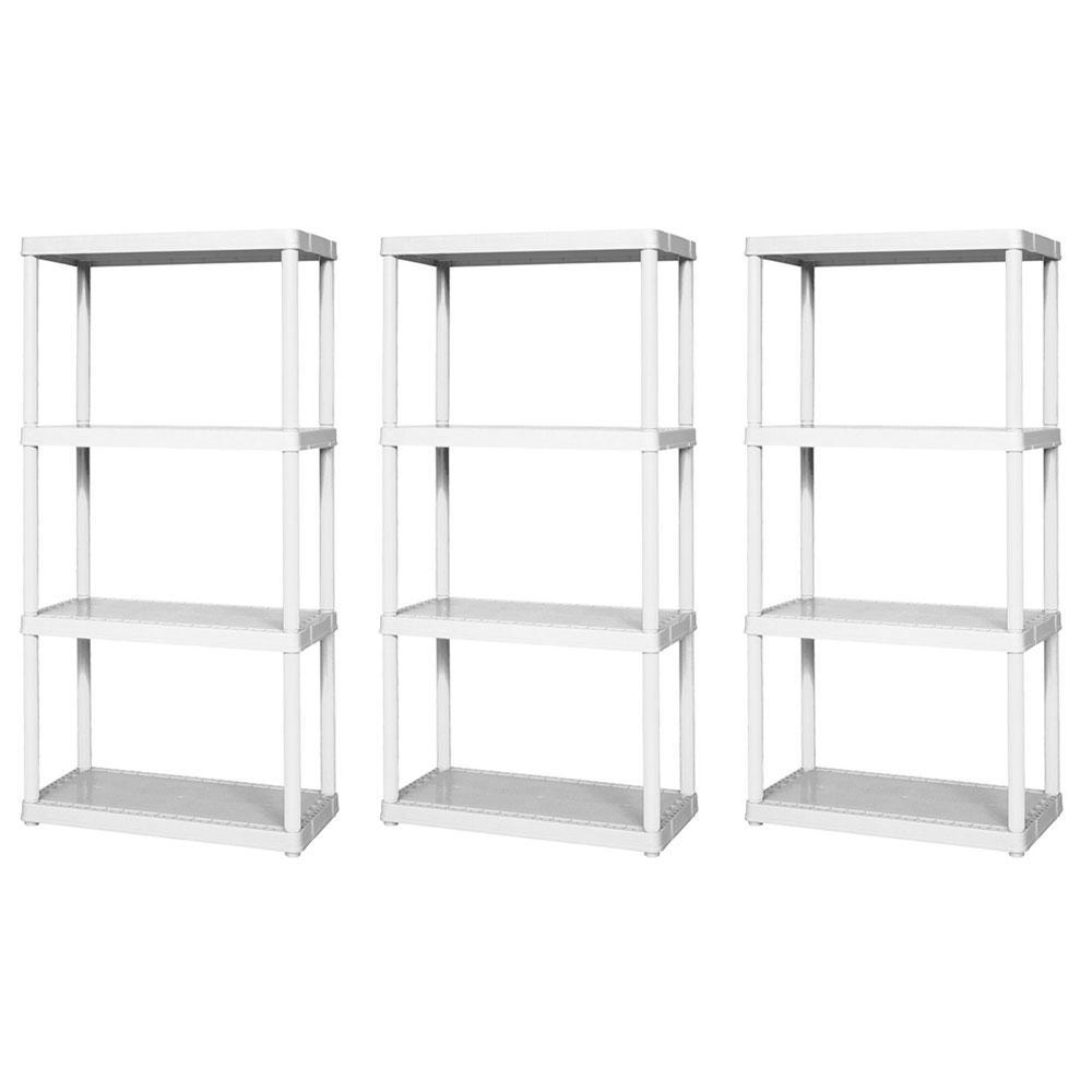 Easily Assembled Light Duty Solid Shelving Unit White (3 Pack)