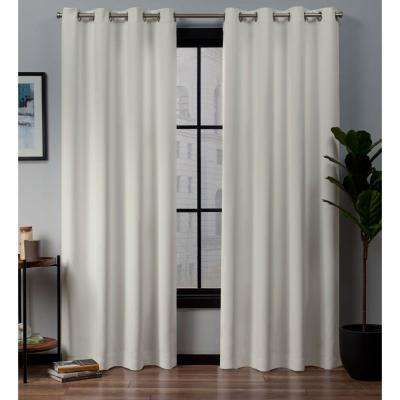 Academy Ivory Blackout Grommet Top Curtain Panel 52 in. W x 96 in. L (2 Panels)