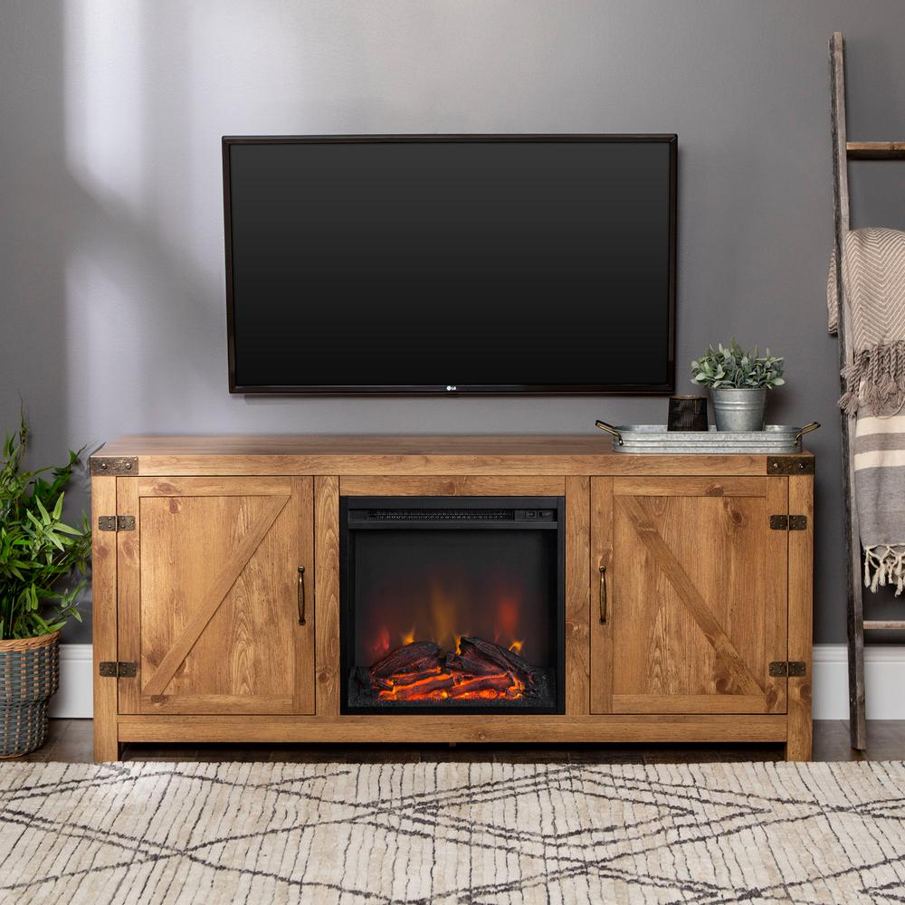 Walker Edison Furniture Company 58 in. Rustic Electric Fireplace TV Console in Barnwood Entertainment Center was $422.4 now $293.25 (31.0% off)