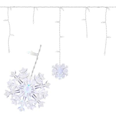70-Light LED White Dome with Snowflakes Icicle Light Set