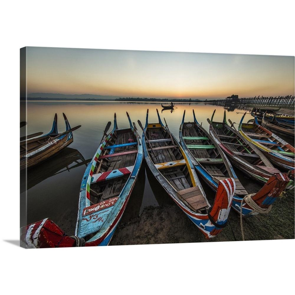 Boat Sunset Seascape MULTI CANVAS WALL ART Picture Print VA