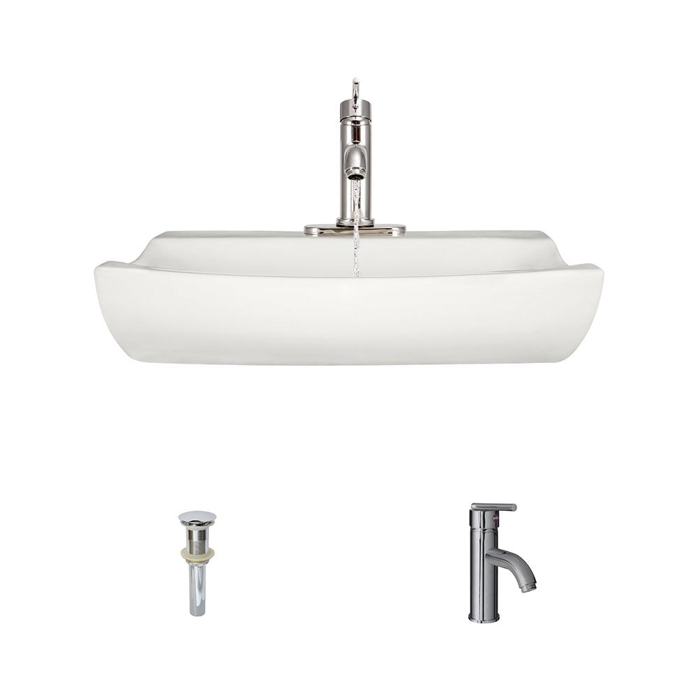Mr Direct Porcelain Vessel Sink In Bisque With 753 Faucet