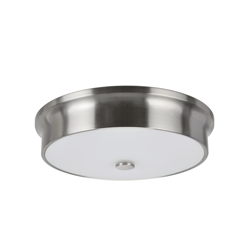 Aspen Creative Corporation 12 in. 11-Watt Satin Nickel Integrated LED Ceiling Flush Mount with Frosted Glass Diffuser