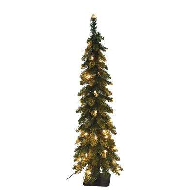 5 ft pre lit pencil slim artificial christmas tree