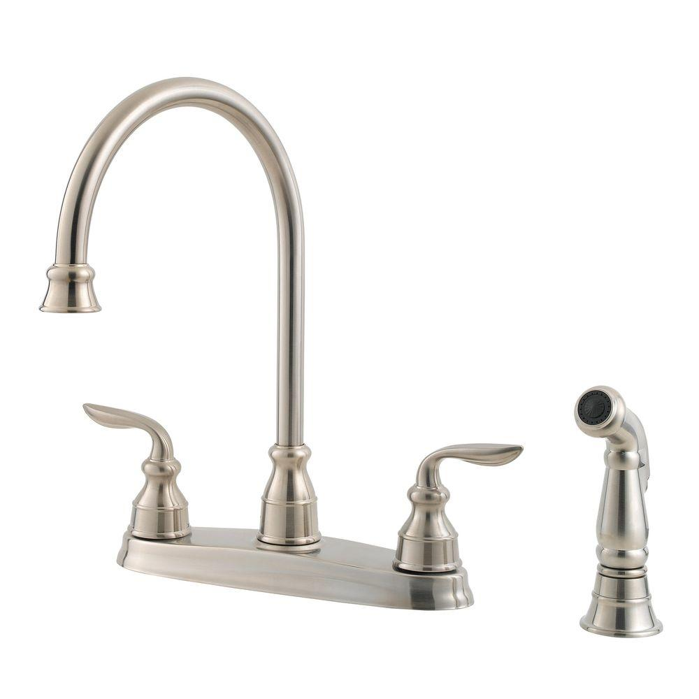 Pfister Avalon 2 Handle Standard Kitchen Faucet With Side Sprayer In