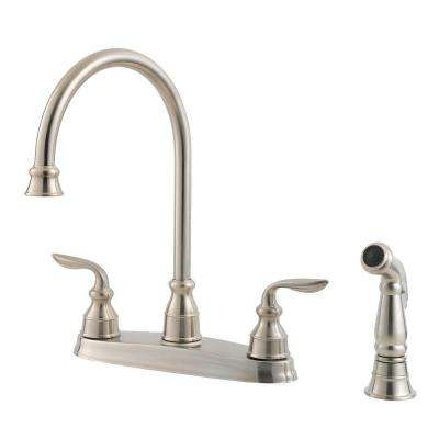 Avalon 2-Handle Standard Kitchen Faucet with Side Sprayer in Stainless Steel