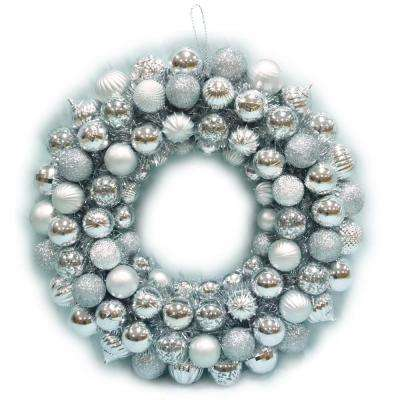 20 in. Shatterproof Ornament Wreath in Silver