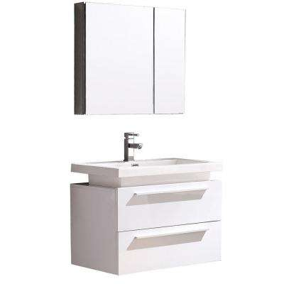 Medio 32 in. Vanity in White with Acrylic Vanity Top in White and Medicine Cabinet