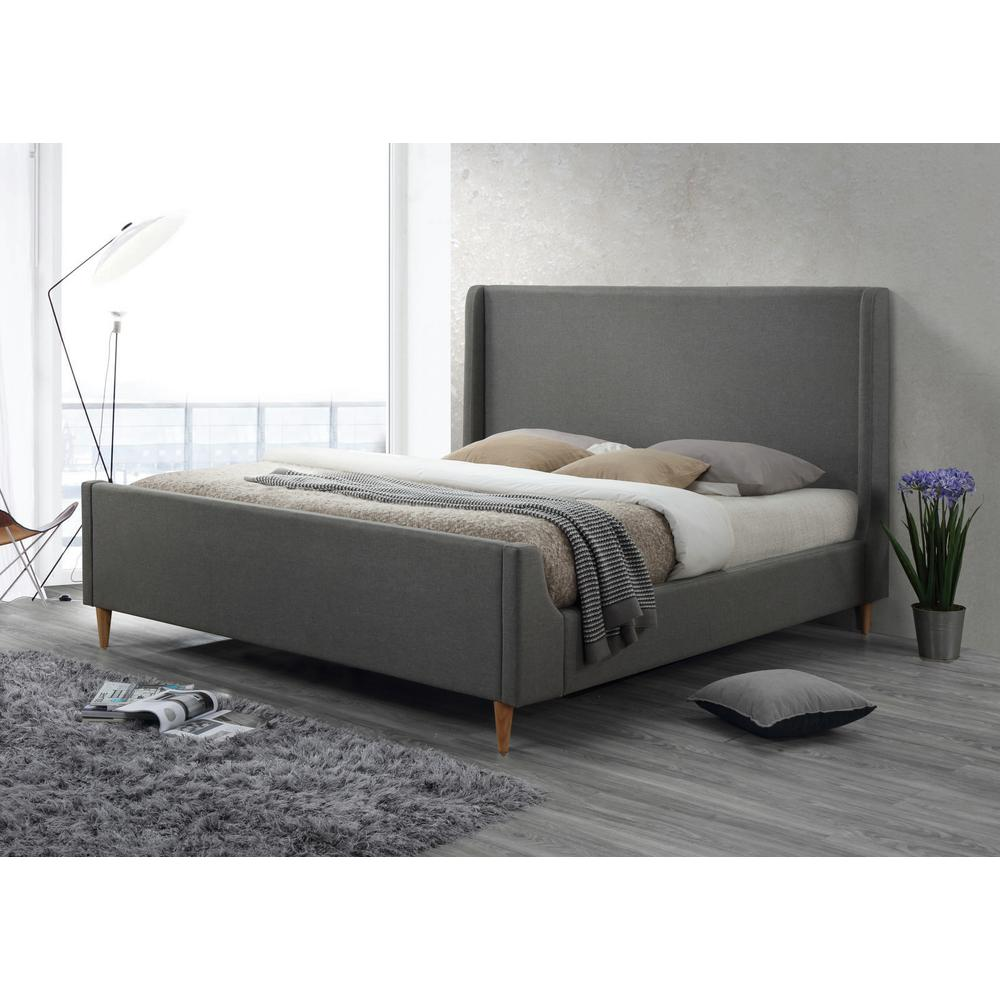 This review is frombedford king upholstered platform bed in linen grey