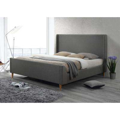 Bedford King Upholstered Platform Bed in Linen Grey