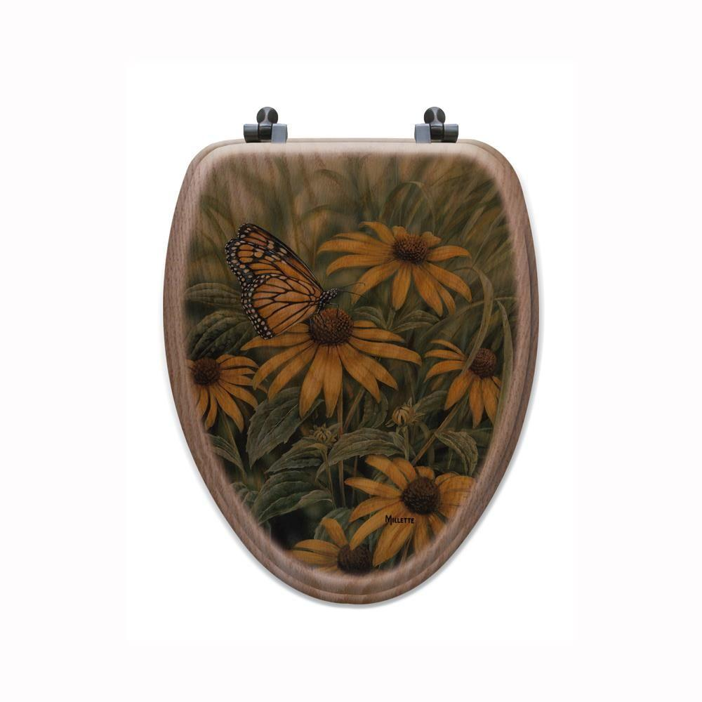 Monarch Butterfly Elongated Closed Front Wood Toilet Seat in Oak Brown