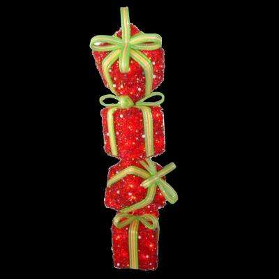 34 in. Red Tinsel Gift Stack with 50 Clear Lights