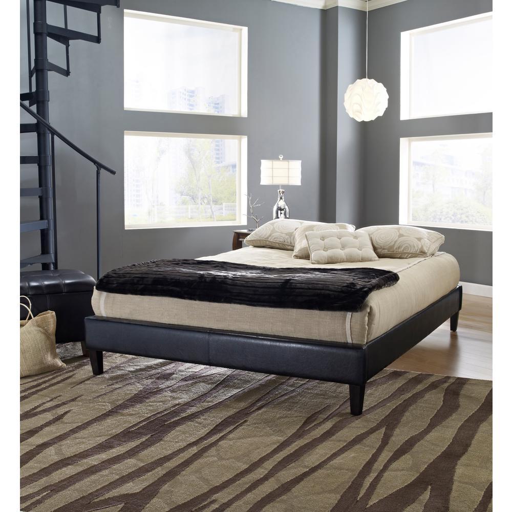 Charleston Black Queen Upholstered Platform Bed