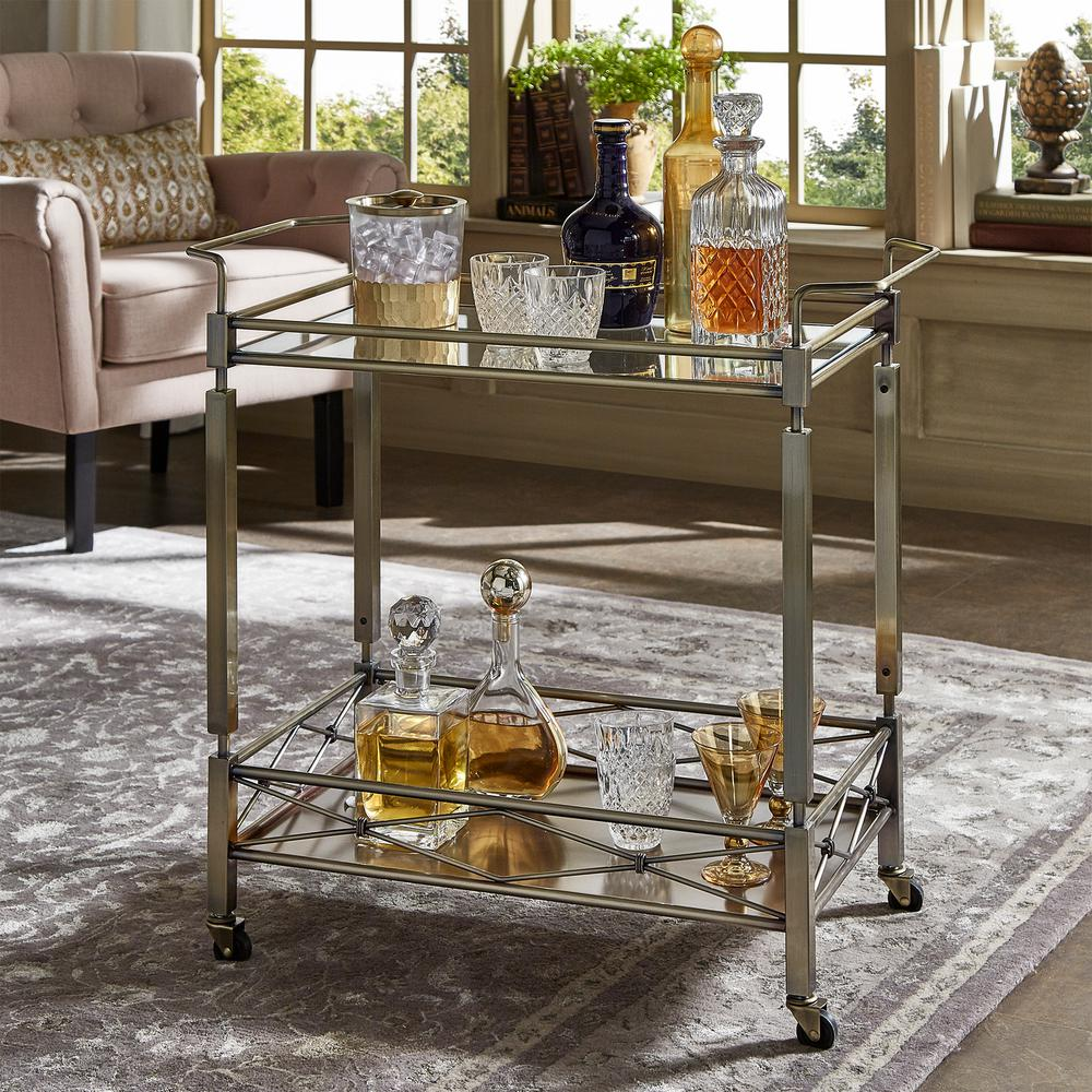 Homesullivan Anise Antique Brass Bar Cart 40620abs 07