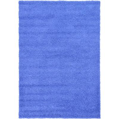 Solid Shag Periwinkle Blue 6 ft. x 9 ft. Area Rug