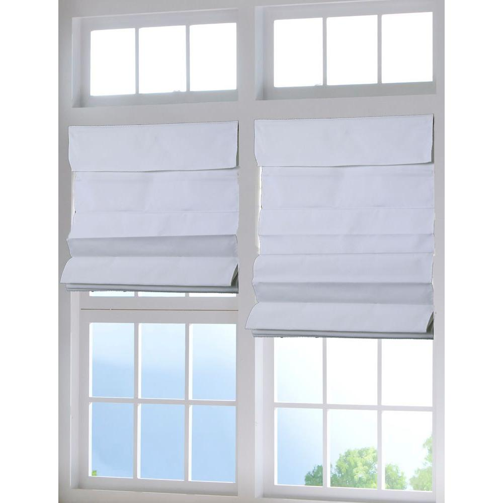 Perfect Lift Window Treatment White Cordless Fabric Roman Shade - 34 in. W x 64 in. L