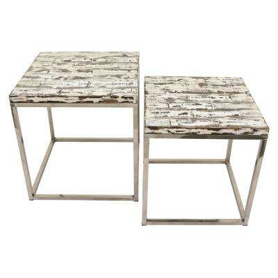 19.75 in. x 19.75 in. White Wood and Metal Tables (Set of 2)