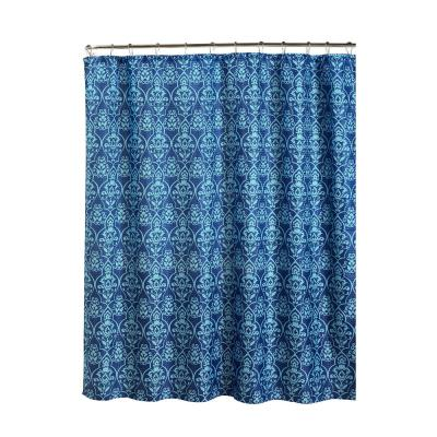 Oxford Weave Textured 70 in. W x 72 in. L Shower Curtain with Metal Roller Rings in Melissa Indigo