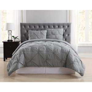 Everyday Pleated Grey Twin XL Comforter Set
