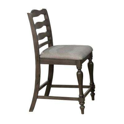 Monica Gray Fabric Ladder Pub Chair (Set of 2)