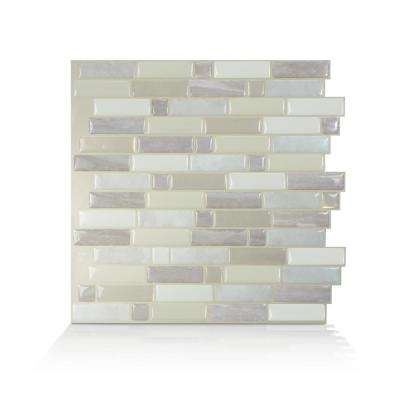 Crescendo Ciotta 9.73 in. W x 9.73 in. H Taupe Peel and Stick Decorative Mosaic Wall Tile Backsplash